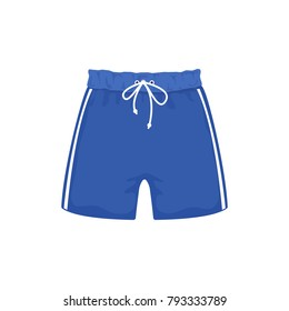 Swimming trunks on white background, cartoon illustration of beach accessories for summer holidays. Vector