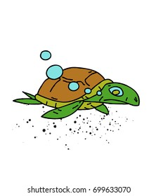Swimming turtle cartoon hand drawn image. Original colorful artwork, comic childish style drawing.