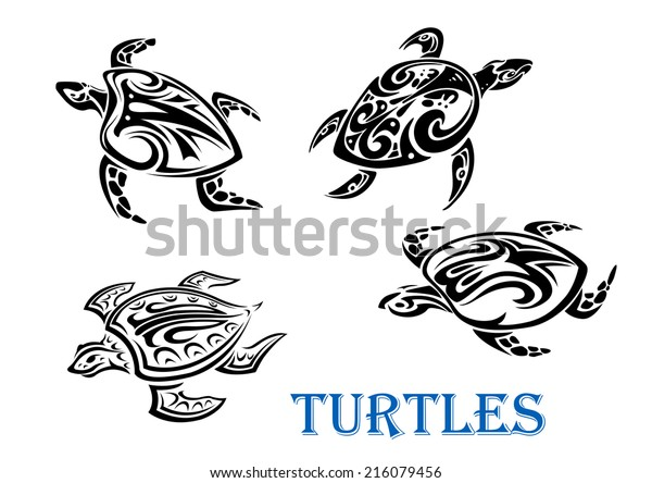 Swimming Turtles Set Tribal Outline Style Stock Vector Royalty