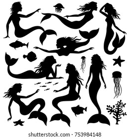 Swimming underwater mermaid black vector silhouettes. Mermaid female with tail black silhouette illustration