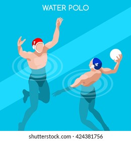 Swimming Water Polo Players Sportsman Games Icon Set. 3D Isometric Swimmer Player. Water Polo Match Sporting Competition. Summer Sports Infographic Swimming Water Polo Team event people Vector Image