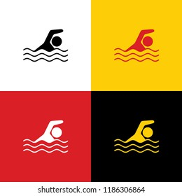 Swimming water sport sign. Vector. Icons of german flag on corresponding colors as background.
