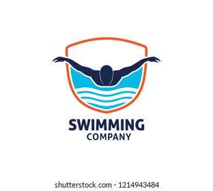swimming water sport vector logo design inspiration for training school, club, and championship