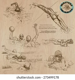 SWIMMING and Water Sports (set no.1) - Collection of an hand drawn vector illustrations. Each drawing comprise a few layers of lines, the colored background is isolated. Easy editable illustration.