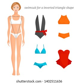 Swimsuit options suitable for the type of figure inverted triangle. Fashionable swimsuits for various female figures. Vector banner.