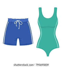 Swimsuit and swimming trunks on white background, cartoon illustration of beach accessories for summer holidays. Vector