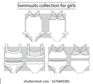 Swimsuits collection basic set of technical sketches for girls