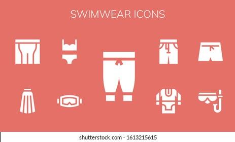swimwear icon set. 9 filled swimwear icons. Included Pants, Diving mask, Bikini, Skirt, Swim shorts, Tunic icons