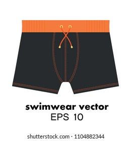 Swimwear shorts isolated icon. Swimsuit for men or boys in black and orange color. Modern beach pants vector.