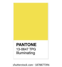 SWINDON, UK - DECEMBER 20, 2020: Pantone Illuminating Yellow Trending Color of the Year 2021. Color pattern, vector  illustration