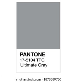 SWINDON, UK - DECEMBER 20, 2020: Pantone Ultimate Gray Trending Color of the Year 2021. Color pattern, vector  illustration