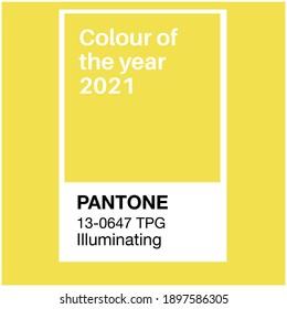 SWINDON, UK - JANUARY 19, 2020: Pantone Illuminating Yellow Trending Color of the Year 2021. Color pattern, vector  illustration