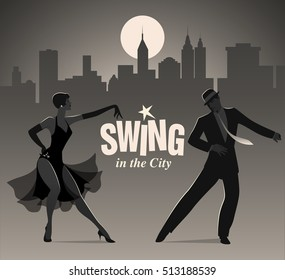 Swing in the City: Elegant couple dressed in 1950s clothes style, dancing jazz or swing