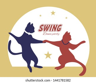 Swing dance couple silhouette of cats  with stars and circle on background. 1940s and 1930s style. Flat vector illustration.