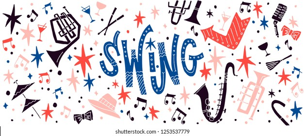 Swing dance or swing music themed background. Set of design elements with musical instruments. Vector illustration for banner or website header.