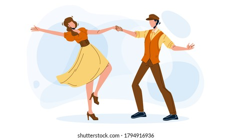 Swing Dance Party Dancing Young Couple Vector. Retro Energy Swing Dance Performing Man And Woman. Boy And Girl Characters Dancers Leisure Active Time And Enjoyment Flat Cartoon Illustration