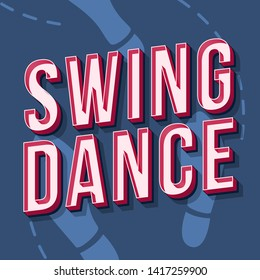 Swing dance vintage 3d vector lettering. Music party. Retro bold font, typeface. Pop art stylized text. Old school style letters. 90s, 80s poster, banner. Steelblue footprint color background