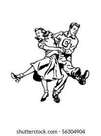Swing Dancers At The Hop - Retro Clip Art