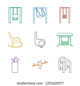 swing icons. Trendy 9 swing icons. Contain icons such as playground ladder, golf putter, golf, rocking chair. swing icon for web and mobile.