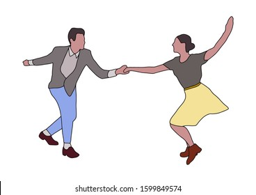 Swing jazz party time. Dancing couples isolated on white in cartoon style. People in 40s or 50s style. Men and women on swing,jazz,lindy hop or boogie woogie party. Vector vintage illustration.