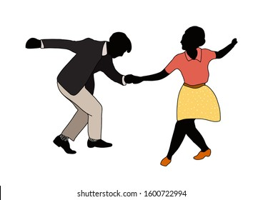 Swing jazz party time. Dancing couples isolated on white in cartoon style. People in 40s or 50s style. Men and women on swing, jazz, lindy hop or boogie woogie party. Vector vintage illustration.