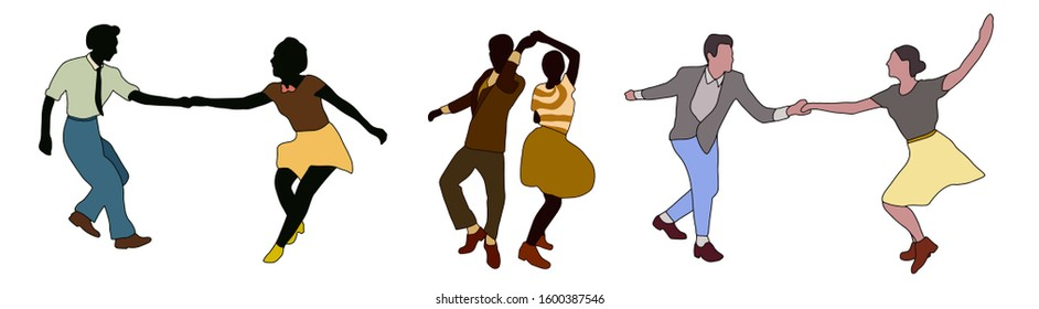 Swing jazz time. Set of three dancing couples isolated on white in cartoon style. People in 40s or 50s style. Men and women on swing,jazz,lindy hop or boogie woogie party. Vector vintage illustration.