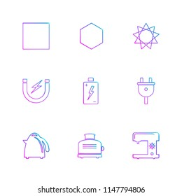 swing machine  toster  kettle  battery  shapes  electronic  time  ecology  icon vector design  flat  collection style creative  icons  traingle  square  hexagon  pentagon  battery  electricity