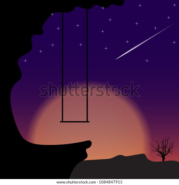Swing on mountain in night time. Vector illustration.
