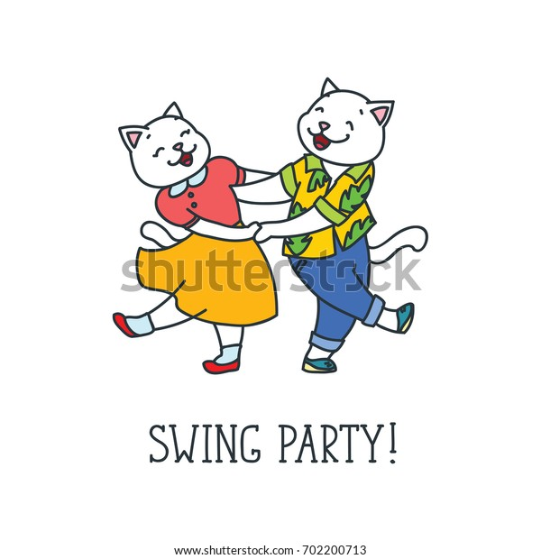 Swing party! Doodle vector illustration of dancing cat couple