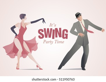 It's Swing Party Time: Elegant couple dressed in 1950s clothes style dancing jazz or swing
