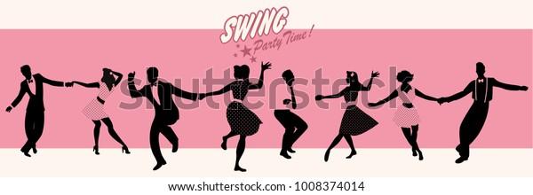 Swing Party Time: Силуэты четырех молодых пар, носящих ретро одежду, танцы качели или линди хоп