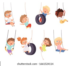 Swing rides. Gymnastic exercise of childrens on rope amusement attraction happy kids vector set