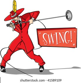 Swing style singer with SWING banner.