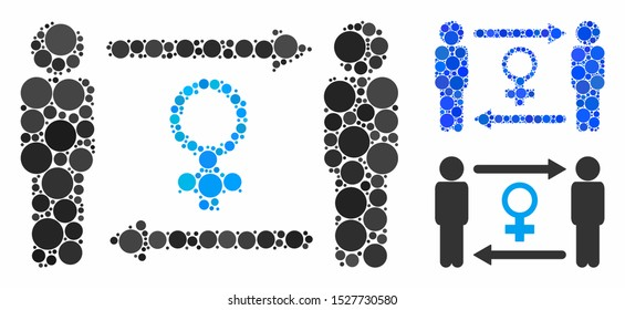Swingers exchange female mosaic of small circles in different sizes and color tinges, based on swingers exchange female icon. Vector small circles are united into blue collage.