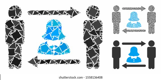 Swingers exchange lady mosaic of ragged pieces in different sizes and shades, based on swingers exchange lady icon. Vector tuberous pieces are united into illustration.