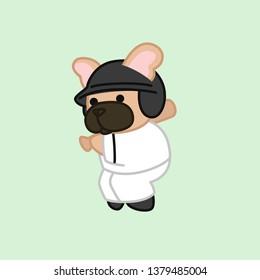 Swinging Bat Fawn Coat French Bulldog Baseball Player Cartoon Vector Illustration