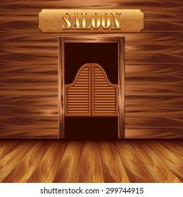Swinging doors of saloon, western background vector