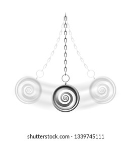Swinging hypnosis pendulum realistic vector illustration, psychotherapy concept, a silver necklace with chain hypnotic spiral pattern and blurred motion effect