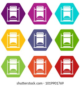 Swinging trashcan icon set many color hexahedron isolated on white vector illustration