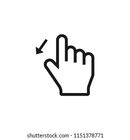 swipe down hand icon.hand,swipe,down,finger,touch,hold,gesture,technology,up,tap,drag,drop,pointer,move,arrow,screen,tablet, click,thumb,phone,digital vector isolated for web and mobile.ui/ux