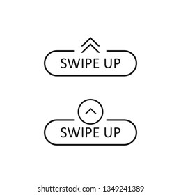 Swipe up icon set isolated on background for social media stories, scroll pictogram. Arrow up logo for blogger.