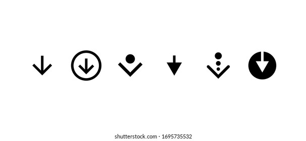 Swipe top down or download icon scroll pictogram set isolated for blogger web ui design. Vector black arrow bottom for application and social network. Eps simple button illustration