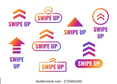 Swipe up, arrow up buttons gradient with shiny colors. Social media concept. Vector illustration eps 10