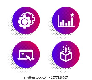 Swipe up, Efficacy and Settings gears icons simple set. Halftone dots button. Augmented reality sign. Scroll screen, Business chart, Technology process. Virtual reality. Science set. Vector