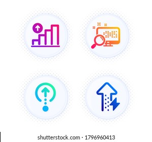 Swipe up, Search and Graph chart icons simple set. Button with halftone dots. Energy growing sign. Scrolling page, Find file, Growth report. Power usage. Technology set. Vector