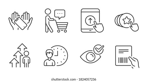 Swipe up, Working hours and Parcel invoice line icons set. Hold heart, Check eye and Buyer think signs. Smartphone holding, Employee result symbols. Quality line icons. Swipe up badge. Vector