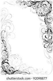 Swirl black and gray ornament.Detailed floral corner design in black and gray.