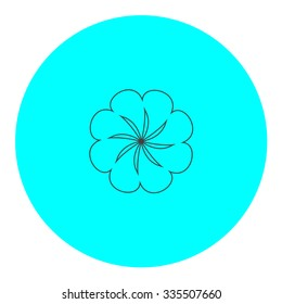 Swirl. Black outline flat icon on blue circle. Simple vector illustration pictogram on white background