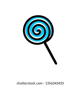 Swirl blue lollipop. Sweet candy. Vector illustration.