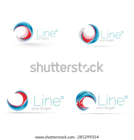 swirl blue red company logo design stock vector royalty free